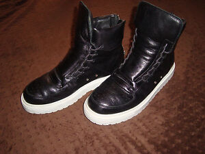 Details about Kris Van Assche Black Leather High Top Sneakers US Size 8