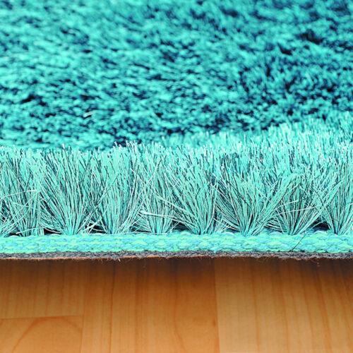 LUXURY SOFT SILKY HIGH PILE SPARKLE SHAGGY TEAL BLUE CLEARANCE CHAMELEON RUG