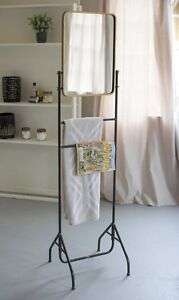 Antique Mid Century Modern Style Metal Valet Stand Towel ...