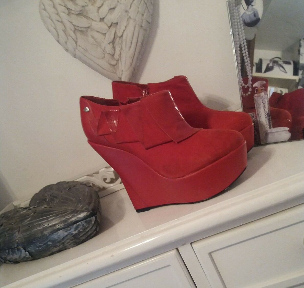 ROT OR DEAD ROT Suede Wedge Schuhes 7/40 7/40 Schuhes 397995
