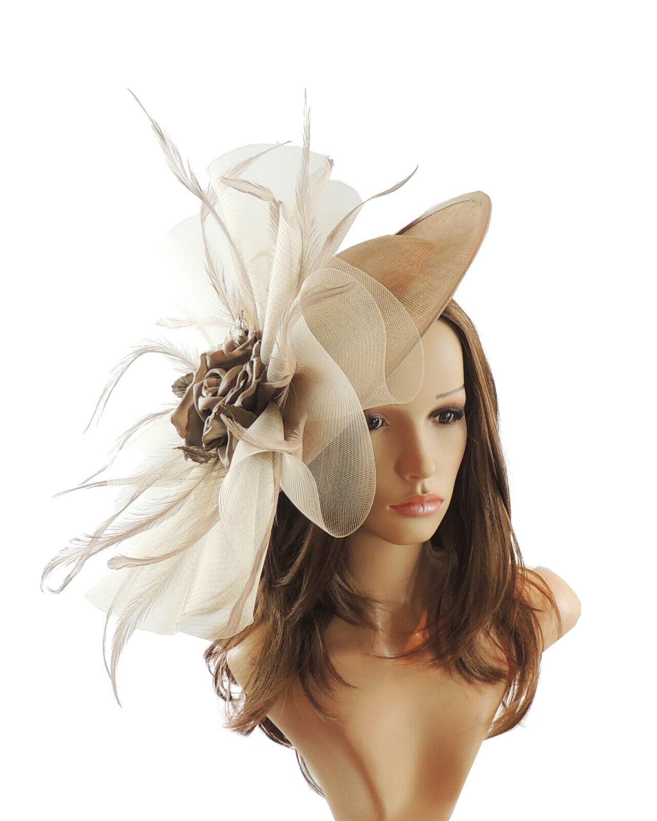 Gold Mink Beige Fascinator Hat for weddings/ascot/proms M2