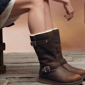UGG Australia Classic Sutter Leather Sheepskin Lined Winter Boots Women Size 6