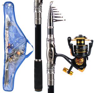 Carbon Fiber Spinning Fishing Rod Reel Combo Telescopic Sea Fishing Rod Set New