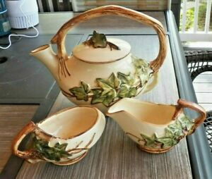 Set-4-pcs-Tea-Pot-amp-Lid-Sugar-Creamer-Vintage-McCOY-Art-Pottery-IVY-Pattern