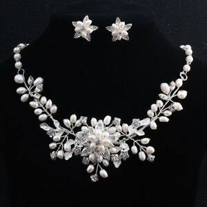 df7f667562 Image is loading Beaded-Bridal-Accessories-Wedding-Necklace-and-Earring-Set-