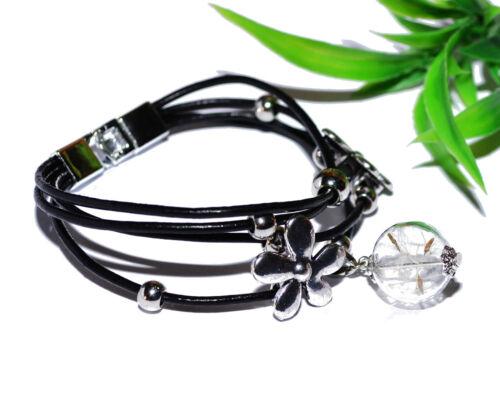 PUSTEBLUMEN Armband schwarz Leder Blumen Blüten vintage Glaskugel silber