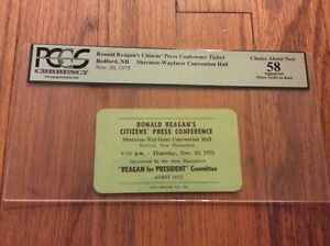 1975-Gov-RONALD-REAGAN-for-President-New-Hampshire-Press-Conference-Pass-PCGS