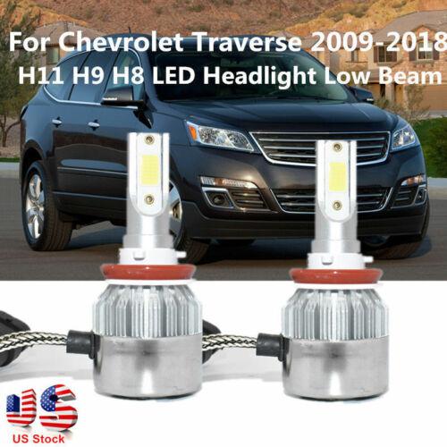 2PCS H11 H9 H8 LED Headlight Bulb Kit Low Beam For Chevrolet Traverse 2009-2018