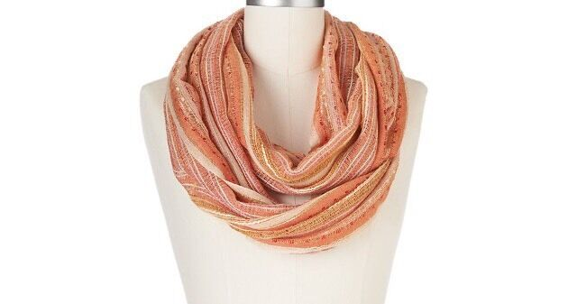 "APT 9 Women/'s Lurex Striped Infinity Scarf/""Neutral/""One Size New Tags Retail $28"
