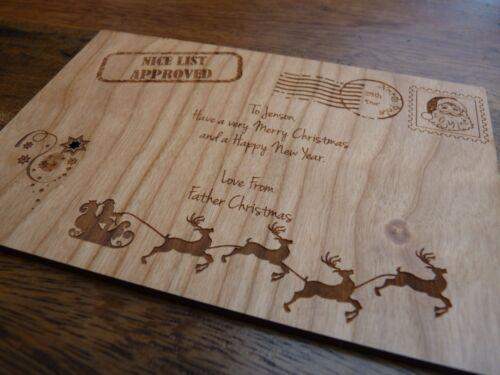 pôle nord timbre Personnalisé en bois nice liste carte de père noël//père noël