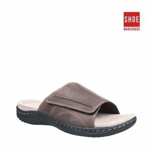 Hush Puppies ARCHIE Brown Mens Slide Casual Leather Sandals