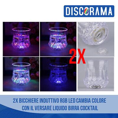 2x Bicchiere Led Cambia Colore Versando Bevanda Induttivo Rgb Birra Cocktail Morbido E Leggero