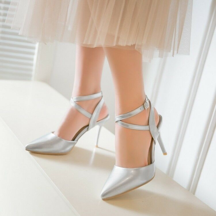 Womens Pointed Toe Buckle Strap High Heels Slingback Sandals Wedding Wedding Sandals Shoes US 8 bad6b5