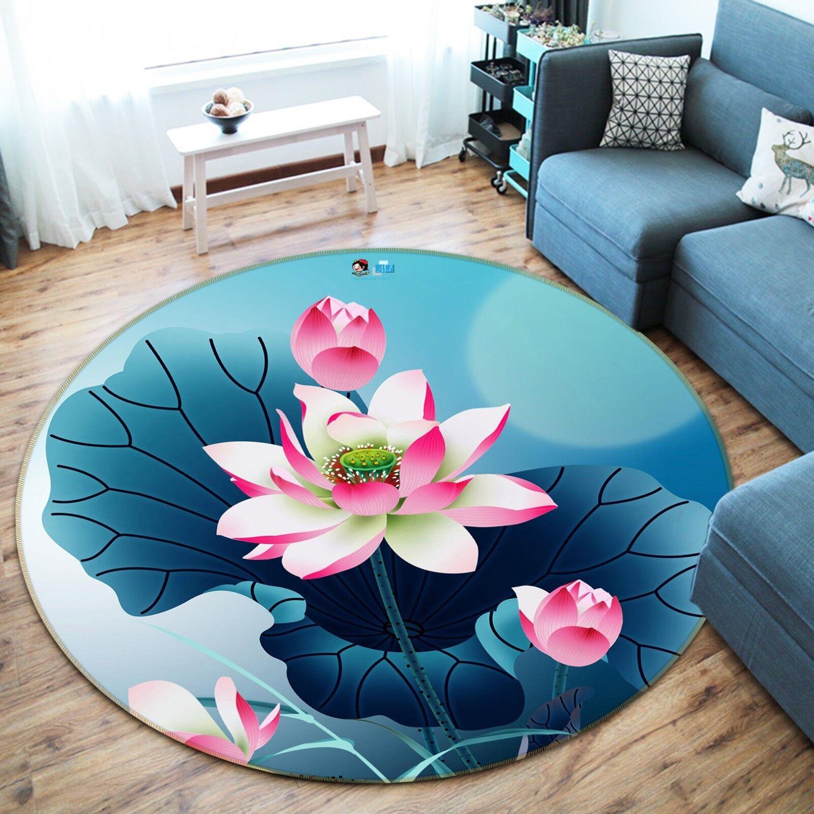 3D LAGHETTO DI LOTO 44 tappetino antiscivolo tappeto camera Tappetino Tondo Qualità Elegante foto Tappeto UK