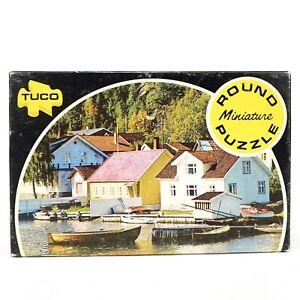 Vintage-Tuco-Round-Miniature-Puzzle-Scene-of-Norwegian-Harbor-55-pieces
