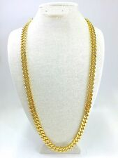 Cuban Link Chain Gold Plated 30 Inches Long 10mm Wide Square Clasp BOX LOCK