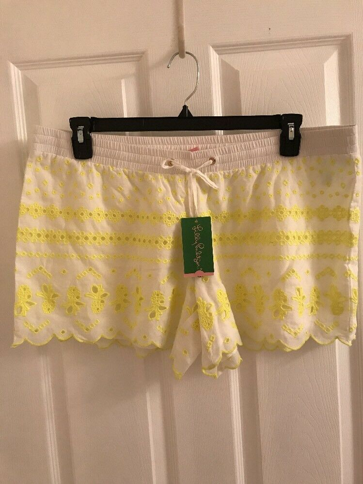 NWT Lilly Pulitzer Baybreeze Short Resort White Green Pineapple Embroidery Large