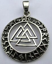 Sterling Silver (925)  Norse Valknut  In Rune  Circle  Pendant    !!     New  !!