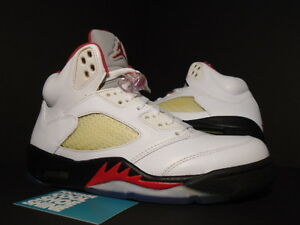 low priced 191a7 6c6dc Image is loading Nike-Air-Jordan-V-5-Retro-WHITE-FIRE-