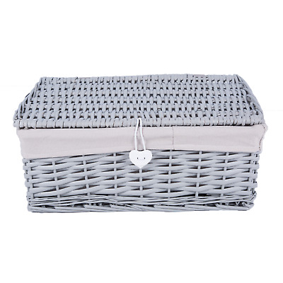 New Grey Painted Lid Wicker Basket Storage Collection Shelve Box Gift Hamper Ebay