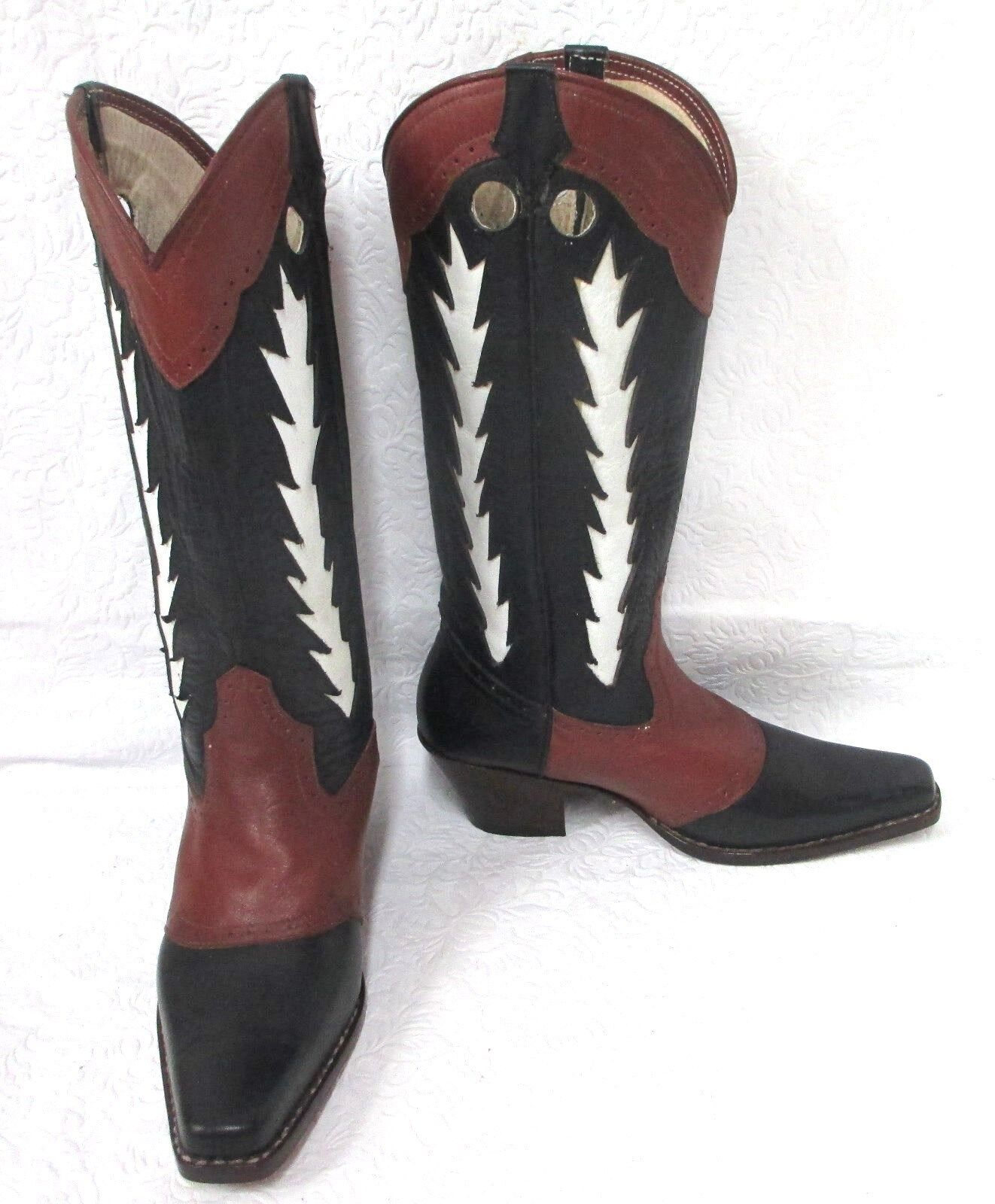 Raro  la la  Mundial LM para mujer Negro Marrón con incrustaciones de Vaqueros De Cuero blancoo botas 5M eda52d
