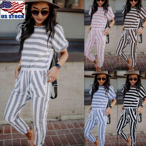 Women Short Sleeve Striped Long Jumpsuit High Waist Casual Beach Pocket Playsuit