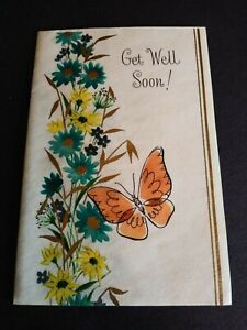 Vintage Rust Craft Greeting Card Get Well Soon Butterfly 10AL2634-2