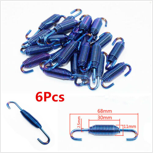 6x Blue Stainless Steel Spring Hooks For Motorcycle Scooter Exhaust Pipe Muffler
