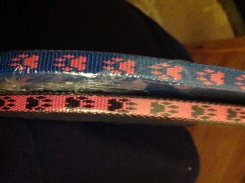 Polypropylene Webbing 10mm-1 metre blue//pink black//pink Paw print design