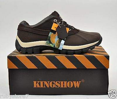 "KINGSHOW Men's Brown 4"" Winter Snow Work Boots Shoes Leather Waterproof 7014"