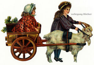 Vintage-Victorian-die-cut-paper-scrap-Kids-playing-with-a-goat-cart-l-c-1880