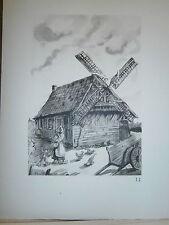 Gravure moulin a vent par P. Valade Nord Moulin maison à Eecke