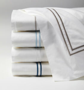 ITALY SFERRA GRANDE HOTEL COTTON FLAT SHEET WITH MULTI-COLOR STITCH EMBROIDERY