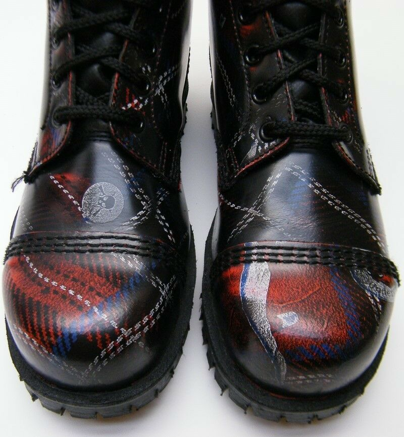 WOMENS UNDERGROUND BAD RELIGION LEATHER PLAID LACE UP ANKLE BOOTS RED BLK USA 7