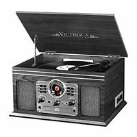 Victrola Nostalgic Classic Wood 6-in-1 Bluetooth And 3 Speed Turntable Graphite