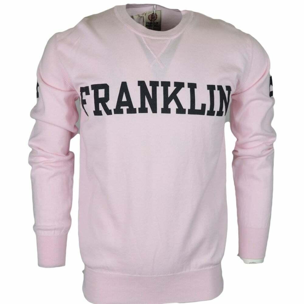 MF122 Cotton Round Neck Printed Franklin Logo rosa Jumper