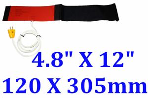 """4.8/"""" X 12/"""" 120 X 305mm 120V 150W Diesel Fuel Filter Silicone Heater w Strap Plug"""
