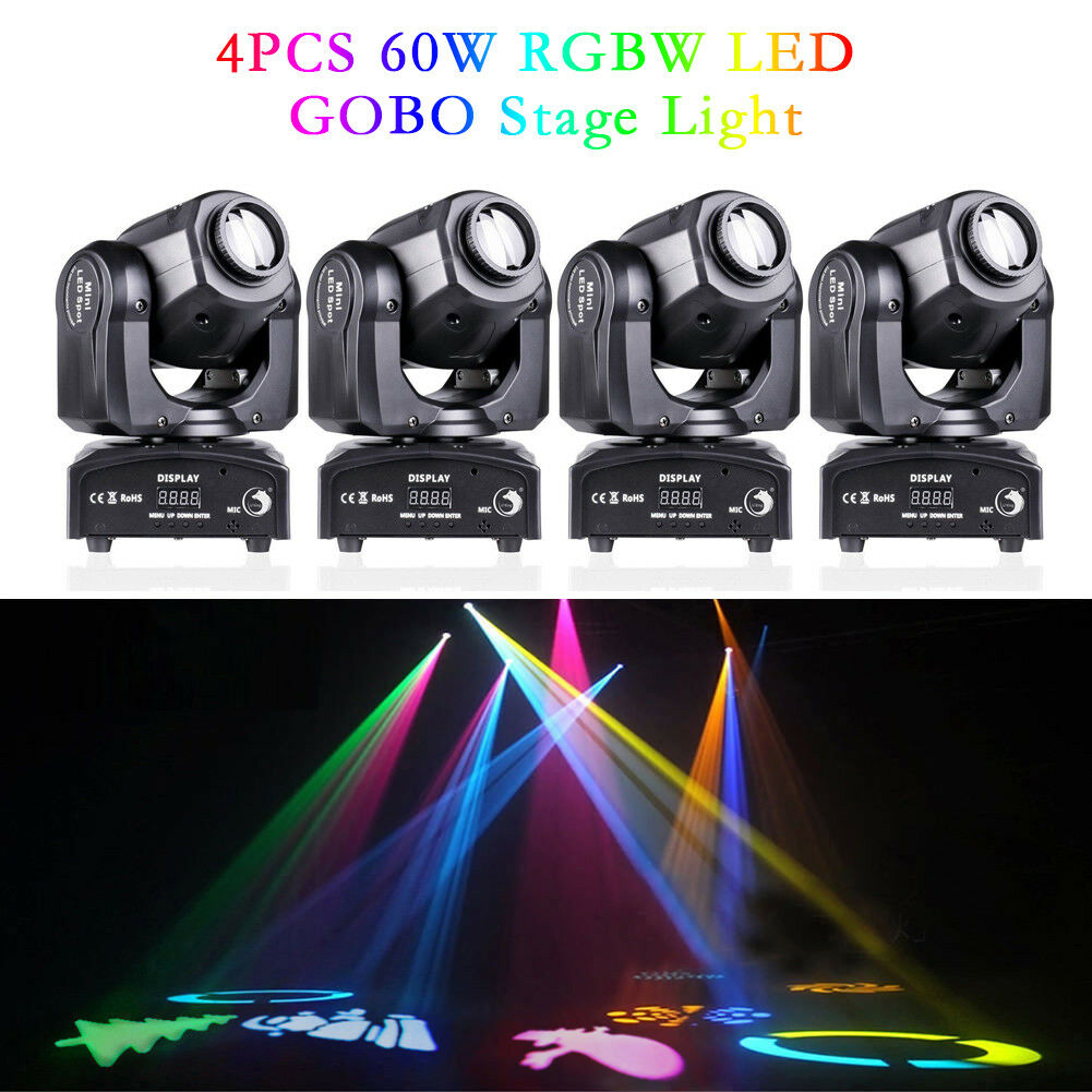 4PCS 60W RGBW SPOT Gobo LED Stage Lights Moving Head DMX Disco DJ Club Lighting