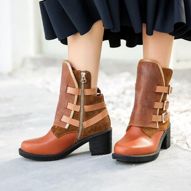 Womens Retro Round Toe Buckle Strap Block Mid Heels Side Zipper Ankle Boots Size