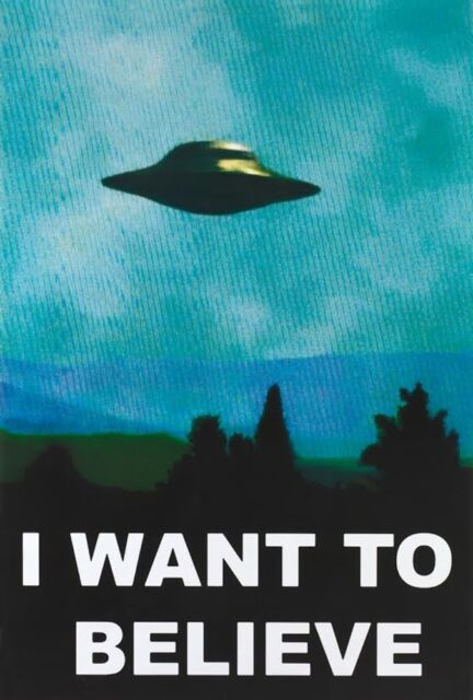 UFO POSTER 24x36 X-FILES I WANT TO BELIEVE ALIENS SPACESHIP 9855