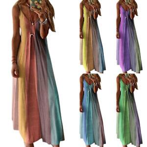 Womens-Boho-Summer-Holiday-Long-Sling-Dress-Party-Maxi-Strappy-Sundress-UK-Sizes