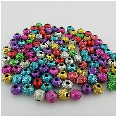 stardust rainbow round acrylic beads 6mm//100pcs 8mm//50pcs jewel making