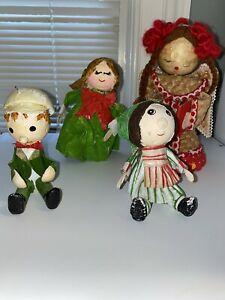 Vintage set Of 4 paper mache christmas decorations figures girl, Boy, And Angels