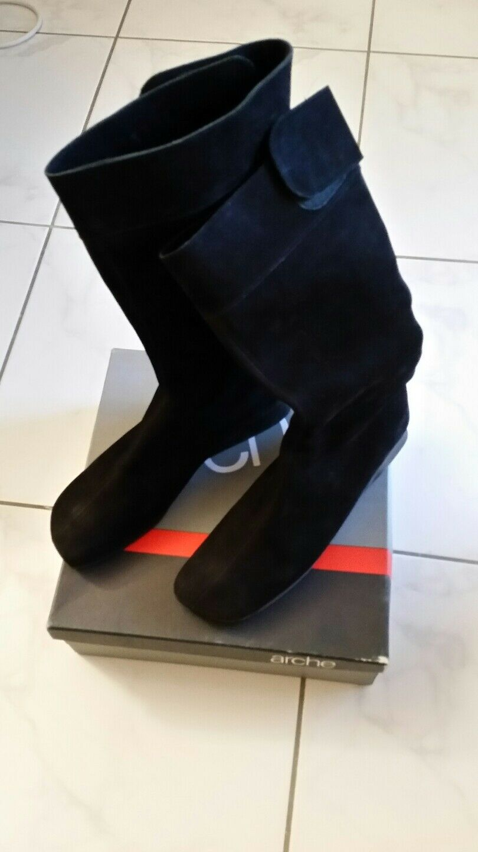 ARCHE Damen Stiefel GR 42 Schwarz Nubuk Leder wNeu