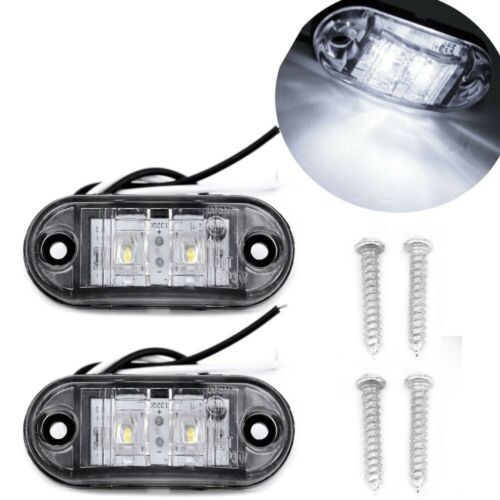 LED 2pcs White Side Marker Lights Clearance Car Trailer Caravan 12V Waterproof