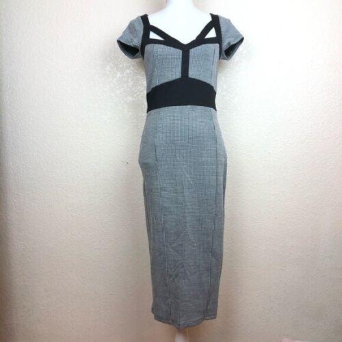 ASOS Houndstooth Midi Dress Black and White Hourgl