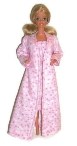 Doll Clothes-Pink Star Print Flannel Robe /& Gown