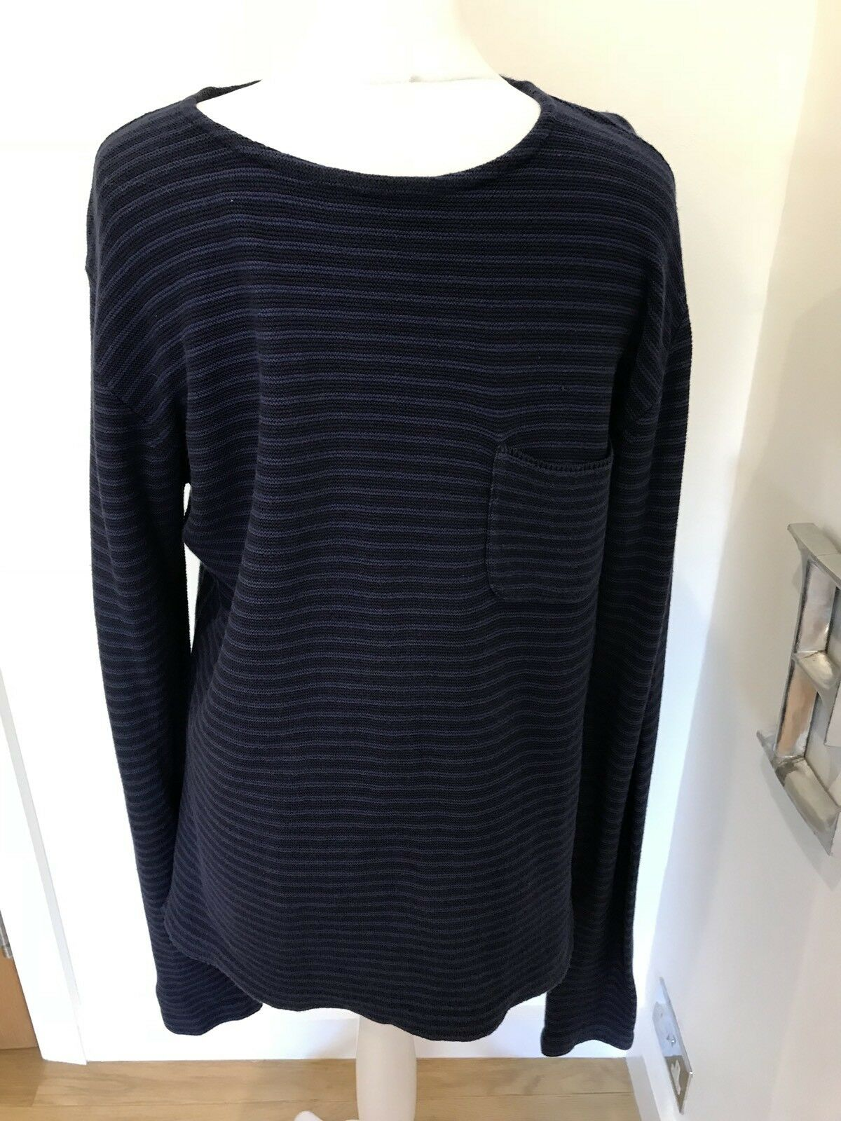 Men's Oliver Spencer Blau Stripe Cotton Jumper Größe M Good Condition