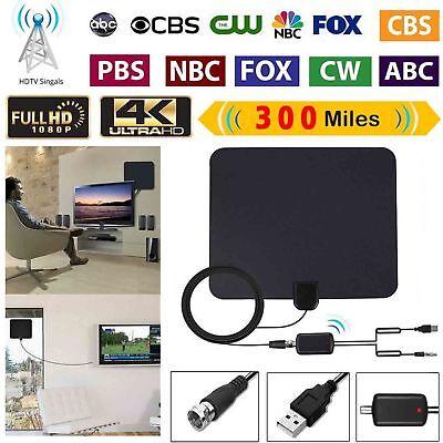 Long Range HDTV Indoor Flat Antenna Amplified VHF UHF Digital TV HD 300 Mile HD