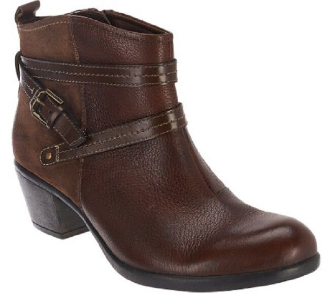 Earth Origins Raven Leather Ankle Boots w/ Strap Details Almond size  8M